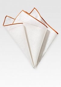 Fine Linen Hanky in White with Burnt Orange Border