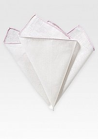 Linen Pocket Square in White with Blush Pink Border