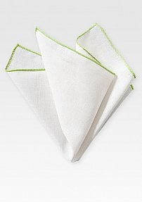Fine Linen Pocket Square in White with Lime Colored Border