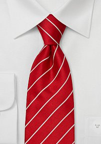 Bright Red & White Striped Silk Tie