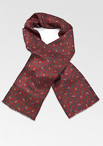 Paisley Print Silk Scarf in Red, Navy, and Olive