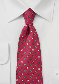 Geometric Floral Print Tie in Red, Green, and Blue