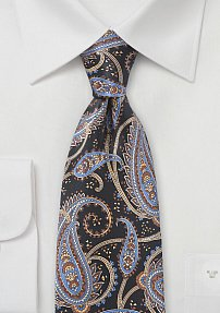 Designer Paisley Necktie in Black and Blues