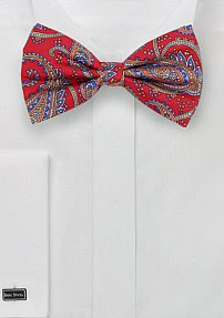 Designer Paisley Bow Tie in Red