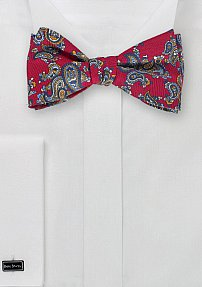 Traditional Paisley Bow Tie in Red and Blue