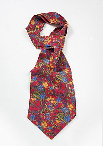 Silk Ascot in Red with Colorful Floral Print