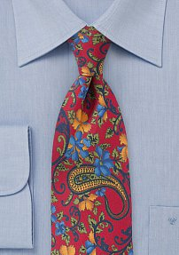 Mens Modern Floral Tie in Bright Red