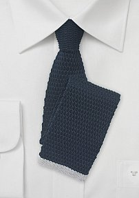 Navy Knit Tie with Silver Squared Tip