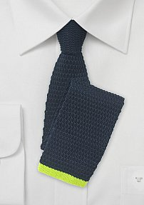 Summer Knit Tie in Navy with Bright Neon Green Tip