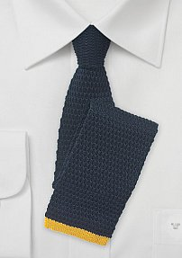 Navy Knit Tie with Yellow Squared Tip