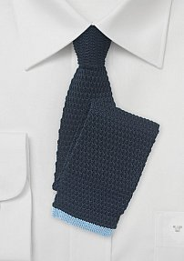 Navy Cotton Knit Tie with Light Blue Tip