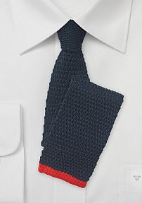 Solid Navy Knit Tie with Bright Red Tip