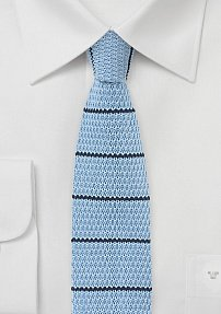 Cotton Knit Summer Tie in Blue