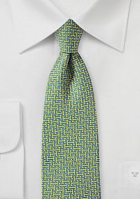 70s Retro Print Tie in Soft Blue and Bright Yellow