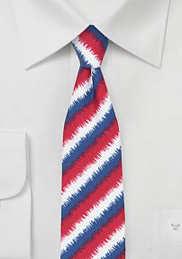 Skinny Graphic Striped Tie in Red, White Blue