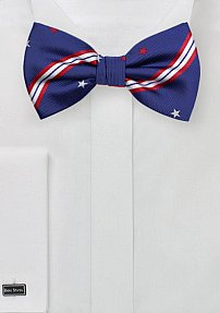 Patriotic Bow Tie with Stars and Stripes