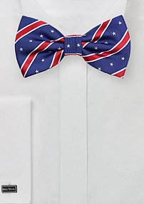 Patriotic Blue Bowtie with Stars and Stripes