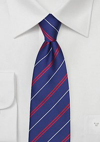 Classy Repp Striped Mens Tie in Blue, Red, and White