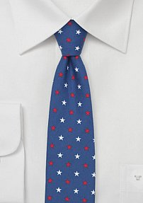 Skinny Cotton Summer Tie with Star Design