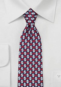 Trendy Mens Tie with Geometric Dollar Print