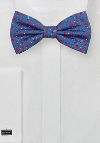 Blue Bow Tie with Printed Firecrackers