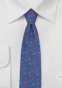 Skinny Mens Tie with Firecracker Design
