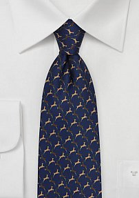 Christmas Tie with Rudolph Print in Navy