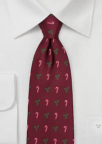 Mistletoes and Candy Cane Christmas Tie in Burgundy