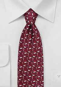 Santa Hat and Candy Cane Print Tie in Wine Red