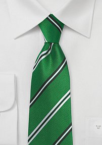 Repp Stripe Necktie in Emerald