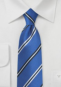 Repp Stripe Silk Necktie in Bold Blues