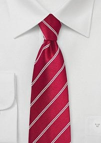 Double Pinstriped Necktie in Red