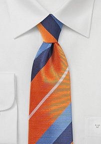 Trendy Tangerine Orange and Blue Striped Silk Tie