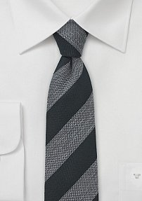 Modern Striped Skinny Tie in Charcoal