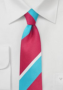 Trendy Striped Tie in Pool Blue and Coral