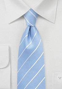 Elegant Summer Silk Tie in Sky Blue and White