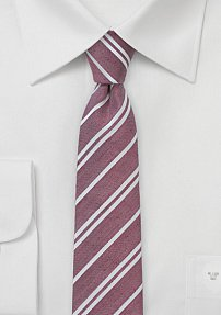 Skinny Linen Tie in Red in Stripes