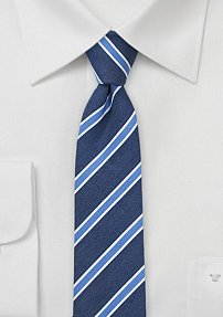 Summer Blues Linen Skinny Necktie by BlackBird