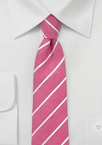 Trendy Coral Color Skinny Necktie