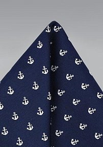 Navy Silk Pocket Square with Woven Anchors