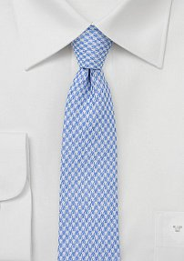 Men's Slim Summer Houndstooth Tie in Blue