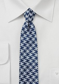 Navy Blue and Silver Houndstooth Check Tie