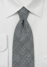 Men's Glen Check Tie in Black and Gray in Wool