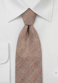 Men's Glen Check Tie in Dark Orange
