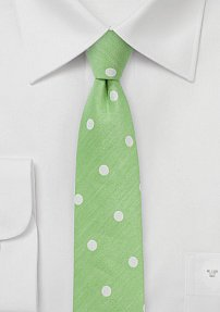 Key-Lime Polka Dot Tie Made from Cotton and Silk