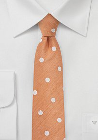 Skinny Peach Orange Tie in Bold Polka Dots