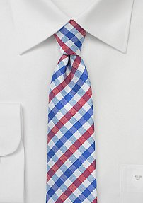 Trendy Silk Tie with Gingham Plaid Design in Blue, Red, and White