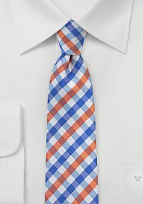 Skinny Gingham Silk Tie in Blue and Orange