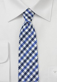 Skinny Gingham Tie in Blue, White, and Black