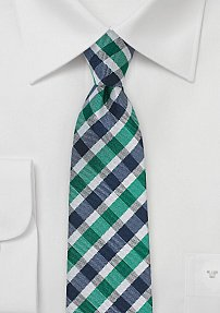 Modern Skinny Tie in Jade and Blue